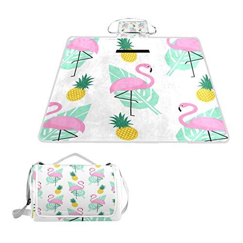 LZXO Jumbo-Picknickdecke, faltbar, mit Flamingo-Ananas, tropisches Blätter, groß, 145 x 150 cm, wasserdicht, handliche Matte, kompakt, Camping, Wandern.