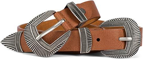 styleBREAKER Damen Vintage Gürtel mit doppelter verzierter Schnalle im Western Style, B-Low Belt, Taillengürtel, kürzbar 03010105, Größe:85cm, Farbe:Cognac