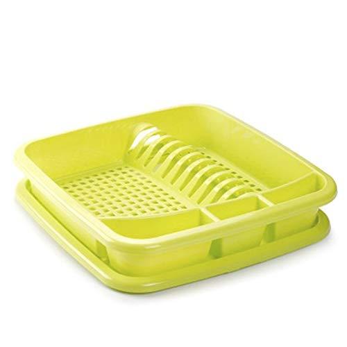 Plastic Forte Escurreplatos de plástico para Fregadero de Cocina, Verde, 40 x 40 x 9 cm