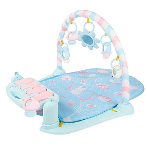 MYYINGELE Baby Play Mat, Play Mat With Play Arch And Baby Piano Play Mat With Light And Music, Play Mat For Babies 0 To 12 Months, Blau, 71 x 60 x 45cm