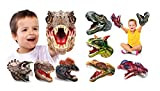 Geyiie Hand Puppets Toys for Toddlers, Dinosaur Puppets Toys Soft Rubber Tyrannosaurus, Dilophosaurus, Triceratops , Rajasaurus, Carnosaur Puppet Toys for Kids Boys Girls