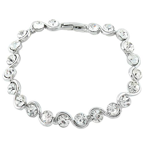 EVER FAITH Damen Kristall Elegante S-Form Runde Tropfen Braut Tennis Armband Klar Silber-Ton