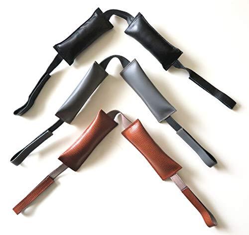 Desi-Schilder Leder-Türkissen-Tür-Kissen-Türstopper-Fensterstopper-Türpuffer-Kein lautes zuschlagen oder zufallen der Tür-grau