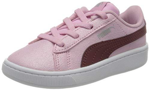 PUMA Baby-Mädchen Vikky v2 Glitz 2 AC Inf Sneaker, Pale Pink-Burgundy Silver, 23 EU