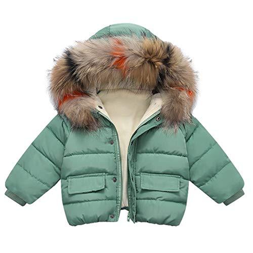 Casaco infantil quente de inverno, jaqueta de neve com capuz e zíper à prova de vento cor lisa mantém quente, Verde, 90-12-18 Months