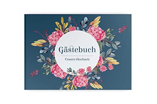 PaperMaid Gästebuch Hochzeit Aquarell Petrol Hortensie Pink mit vorgedruckten Fragen Hardcover DINA4 Quer