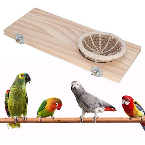 HEEPDD Staande plank touw nest set, vogels hout staande plank met kleine henneptouw Nest Nymphensittik zittik nestdoos kooi set papegaai