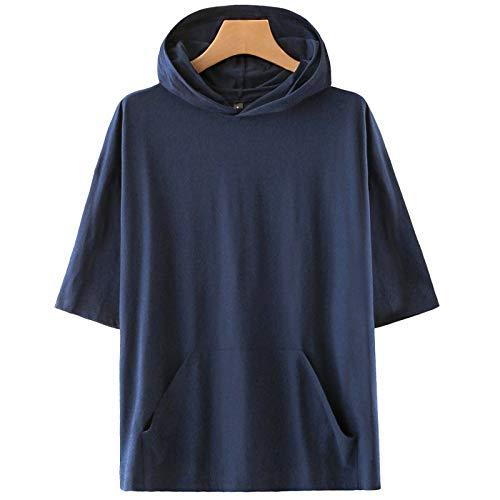 KENAIJING Camiseta, Camiseta con Capucha Deportiva Casual para Hombre y Mujer (Azul, M)
