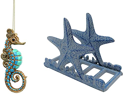Comfy Hour Under The Sea Collection Cast Iron Starfish Napkin Holder, Seahorse ornament, bundle of 2
