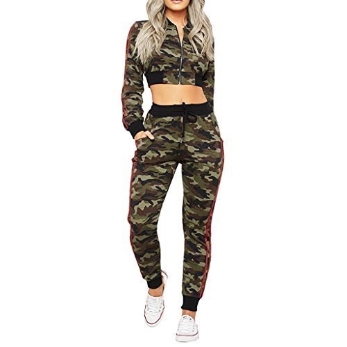 Frauen Tarnung Lässige Set Damen Lange Ärmel Tasche Schnürung Reißverschluss Camouflage Drucken Kapuzenpullover Hosen Anzug