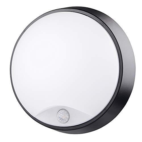 Lámpara LED para Pared y Techo Luz Nocturna LED Circular con Sensor de Movimiento PIR 10W IP54 de Luz Suave para Interiores Exteriores Corredor Baño Jardín Taller - Negro