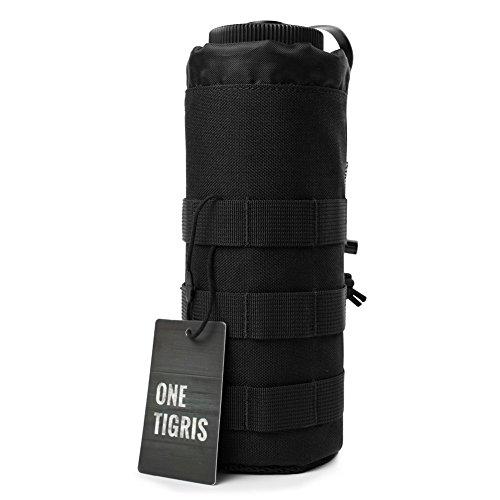 OneTigris Outdoor Sport Tactical Gear Nylon Molle System Trinkflasche Halter Wasserkocher Tasche Carring Aufbewahrungstasche (Schwarz)
