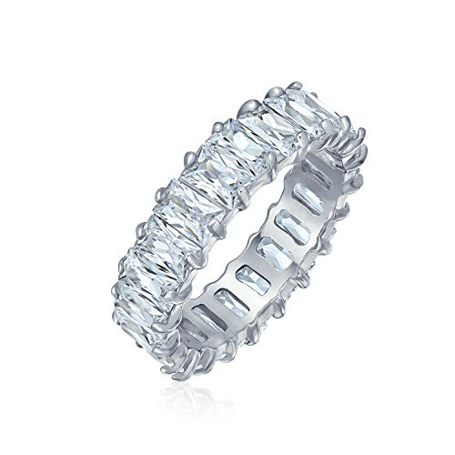 Art Deco Style AAA CZ Emerald Cut Cubic Zirconia Eternity Baguette Anniversary Wedding Band Ring For Women 925 Sterling Silver 4MM
