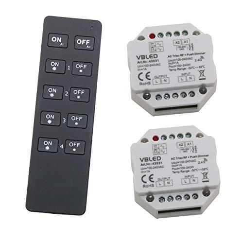 Inatus LED en halogeen 2.4G RF dimmer systeem 4-kanaals afstandsbediening met 2 draadloze dimmers.