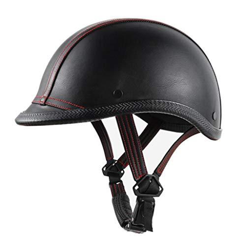 ZHEN Casco De Moto Retro,Casco De Moto Abierto Media Cara Casco Protección para Moto Scooter,Profesional Half Moto Cascos Helmet para Mujer Y Hombre