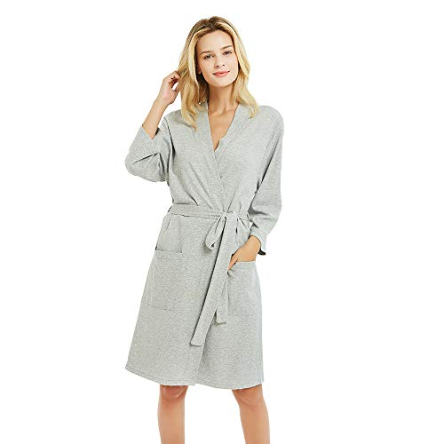 U2SKIIN Womens Cotton Robes, Lightweight Robes for Women with 3/4 Sleeves Knit Bathrobe Soft Sleepwear Ladies Loungewear(Grey, M)