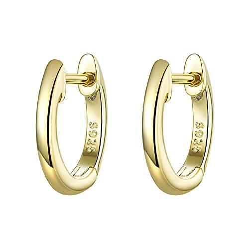 XAOQW Pequeños Pendientes de aro para Las Mujeres Color Oro 925 Plata esterlina Aros de Orejas pequeñas joyería Femenina Moda-SCE808