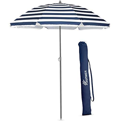 SUNMER 1.8M Blue & White Beach Umbrella - Beach Parasol - Garden Outdoor Parasol - With Tilt Mechanism