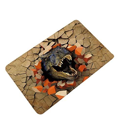 Dinosaurio 3D Impreso Felpudo Anti Slip Absorción de Agua Estera del Piso de la Alfombra por un Cuarto de baño salón