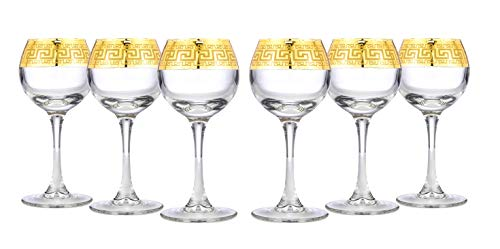 Gold Rimmed Sherry Liqueur 6-piece Cordial Glasses Set Greek Key Pattern Contemporary Drinkware
