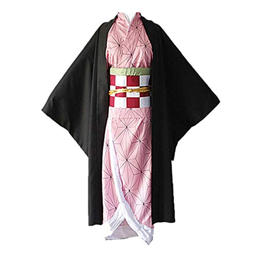 Anime Kimetsu No Yaiba Nezuko Kamado Cosplay Costumes Halloween Party (L) Pink