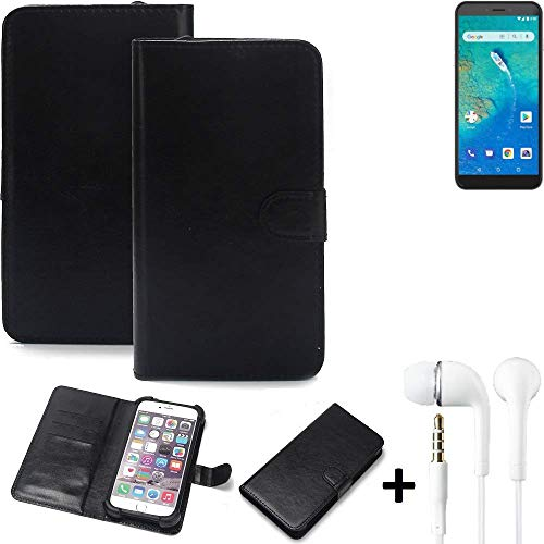 K-S-Trade® Wallet Case Handy Hülle Für General Mobile GM 8 Go Schutz Hülle Smartphone Flip Cover Flipstyle Tasche Schutzhülle Flipcover Slim Bumper Schwarz + In Ear Headphones
