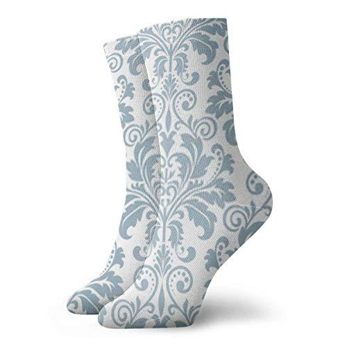 Socken Blumenmuster Vintage Tapete im Barock-Stil Hintergrund weiß AndVintage weich dick gestrickt Casual Crew Stiefel Socken