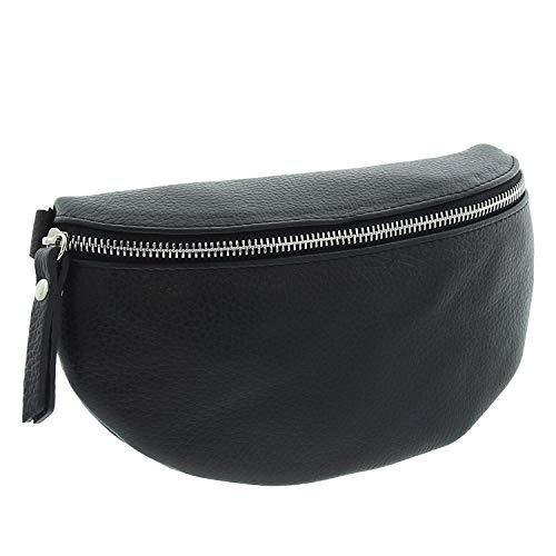IO.IO.MIO echt Leder Bauchtasche Damen Hüfttasche Gürteltasche Crossbody Bag Frauen Ledertasche schwarz