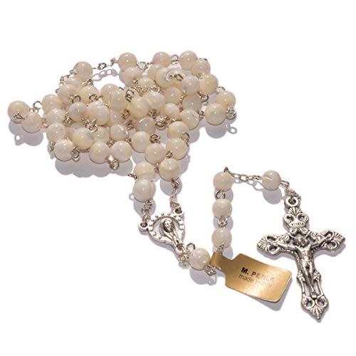 Junker Kirchenbedarf Rosenkranz gekettelt - Perlmutt-Perlen weiß, rund, Ø 6mm - silberfarbenes Kreuz aus Metall, 49cm