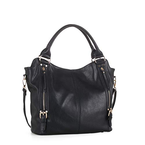 DELUXITY Hobo Shoulder Bags for Women Tote Handbags Fashion Large Capacity Ladies Crossbody Front Zippers | Black