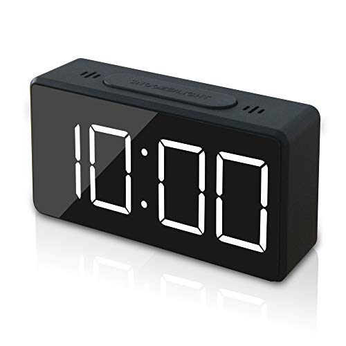 GLOUE Small Mini Digital Alarm Clock for Travel with LED Time or Temperature Display, Snooze, Adjustable Brightness , Simple Operation,12/24Hr (Black2)