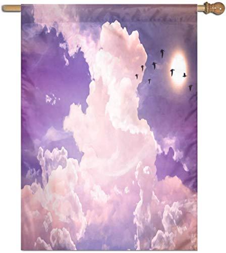 Jacklee Roze Vreemde Wolken Vogels Tuinvlaggen Duurzame Verticale Huis Vlag Fade Resistant Outdoor Banner Kwaliteit Yard Decoratieve Vlaggen voor College Weekend Sports- 27