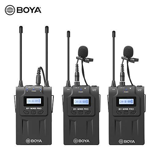 Godyluck- Sistema de micrófono inalámbrico de Dos Canales UHF BOYA by-WM8 Pro-K2 Receptor+ Transmisor A+ Transmisor B con Pantalla LCD Compatible con cámara Nikon Sony DSLR de Sony