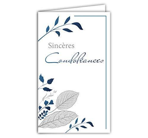 Afie 24-1039 Carte Sincères Condoléances format fermé 95x160mm avec enveloppe blanche - Feuilles bleues Branches Arbre