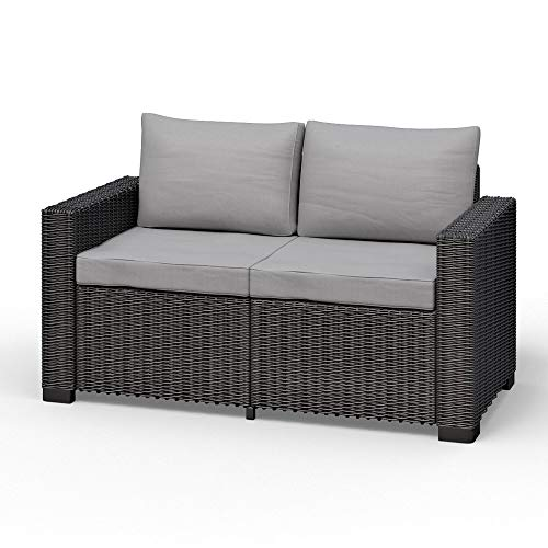 Koll Living Lounge-Sofa, 2-Sitzer, anthrazit, stilvolles Sofa in Rattanoptik - mit bequemen Sitz- & Rückenkissen - für Innen- & Außenbereich