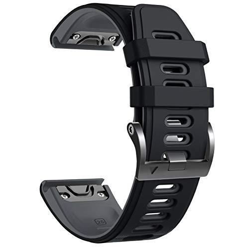 NotoCity Bracelet Fenix 5X, Remplacement avec Bracelet de 26 mm de Largeur pour Fenix 5X Plus/Fenix 6X/Fenix 6X Pro/Fenix 3/Fenix 3 HR/Descente MK1/D2 Delta PX(Gris-Noir)