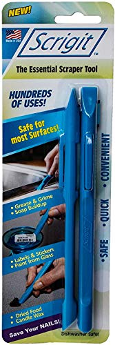 Scrigit Scraper Scratch Free Plastic Scraper Tool, Perfect for Reaching Tight Spaces and Crevices, Easily Remove Food, Labels, Paint, Grease and More- 2pk
