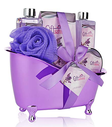 Spa Gift Basket Lavender Fragrance Cute Tub-Shaped Holder With Bath Accessories, Best Mother's Day Gift Set, Wedding, Birthday or Anniversary Gift, Includes Shower Gel, Bubble Bath, Bath Bombs & More (Things To Get For Your Moms Birthday)