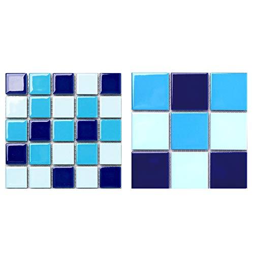 YOUCAOLong Gras dunkelblau hellblau Keramik Schwimmbecken Mosaik Pool Fisch Pool Outdoor Bodendekoration (2 Modelle Proben, dunkelblau)