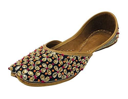 Step n Style Women Black Kunden Designer Pakistani Juti Punjabi Jutti Ethnic Mojari Beaded Jooti