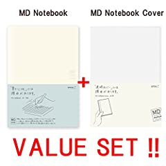 Midori MD Notebook - A5 Grid Paper (15003006 ) + MD notebook cover & lt; A5 & gt (49360006) --VALUE SET