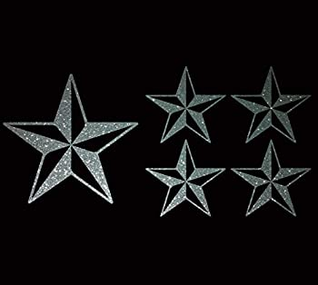 Nautical Star Tattoo Rockabllly Navy Sailor Lot of 6 Car Bumper Stickers Vinyl Wall Decals  4  and 2    GLITTER SILVER