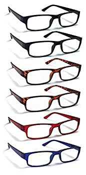 6 Pack Reading Glasses by BOOST EYEWEAR Traditional Frames in Black Tortoise Shell Blue and Red for Men and Women with Comfort Spring Loaded Hinges Assorted Colors 6 Pairs  +2.50