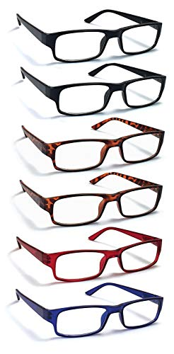6 Pack Reading Glasses by BOOST EYEWEAR, Traditional Frames in Black, Tortoise Shell, Blue and Red, for Men and Women, with Comfort Spring Loaded Hinges, Assorted Colors, 6 Pairs (+1.25)