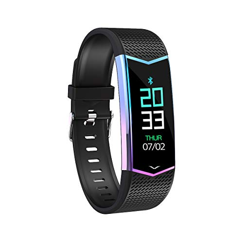 OWX Fitness Tracker Watch, Fitness Watches Blood Pressure Watch,Step Counter Watch, Calorie Counter, Pedometer Watch for Women Men and Kids (Black)