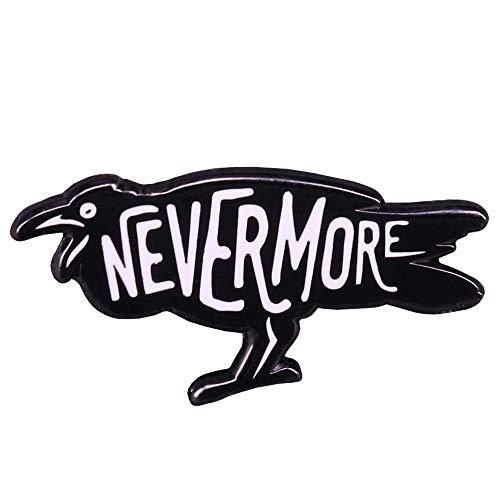 GuDeKe El Cuervo Pin de Esmalte Nevermore Broche gótico joyería de Halloween