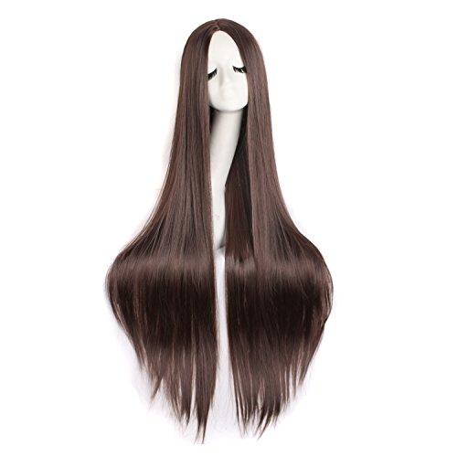 "MapofBeauty 40""/100cm Natural Soft Straight Long Cosplay Wig (Dark Brown)"