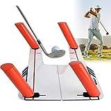 TOPQSC Golfschwunghilfe mit Acrylbasis + 6 Schienen + Transporttasche, Geschwindigkeitstraining für Golf-Training