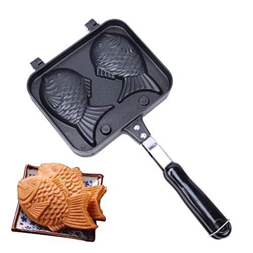 DEtrade Japanische Pancake Maker Fisch Geformte Backformen Waffelpfanne 2 Cast Home Cake Tools Fischförmige Pfanne Tintenfisch Brennt Schimmel (Black)