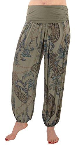 FASHION YOU WANT Damen Sommerhose Pumphose Haremshose mit kleinem Paisleymuster Größe 34/36 bis Größe 48/50 verfügbar Leichte Haremshose (46/48, gr. BA Khaki)